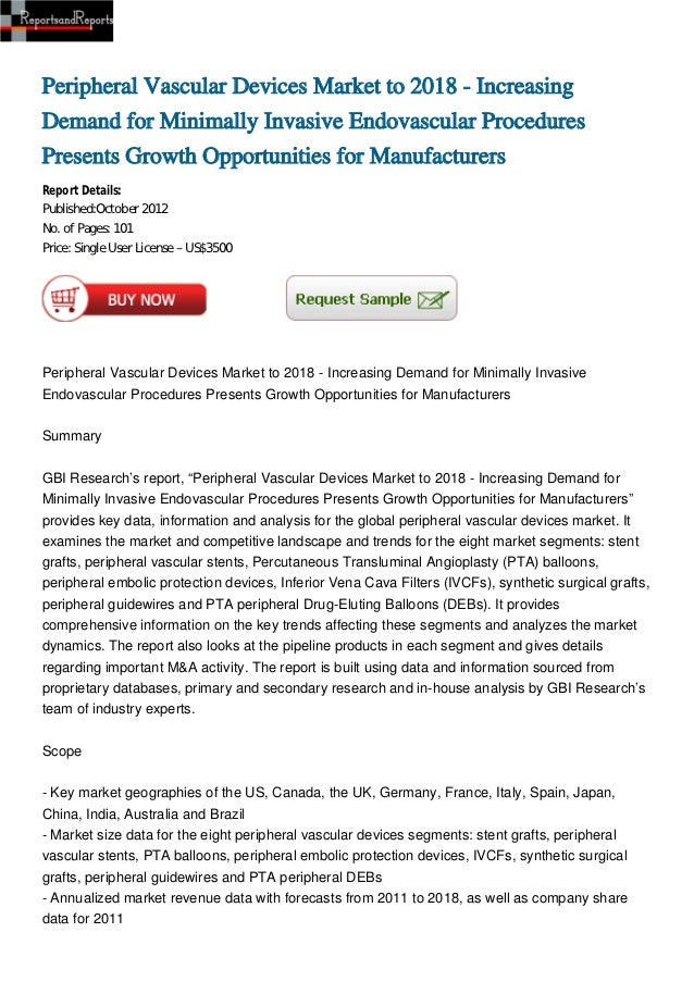 Peripheral Vascular Devices Market to 2018 - Increasing Demand for Minimally Invasive Endovascular Procedures Presents Growth Opportunities for Manufacturers