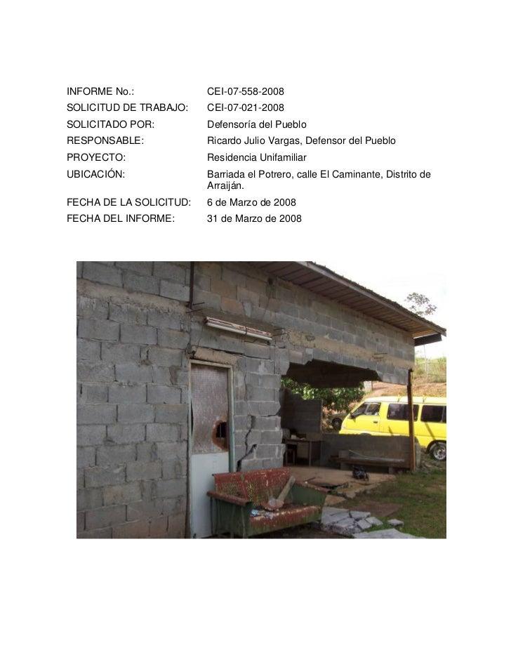 Peritaje Defensoría Pueblo Residencia Unifamiliar 2008