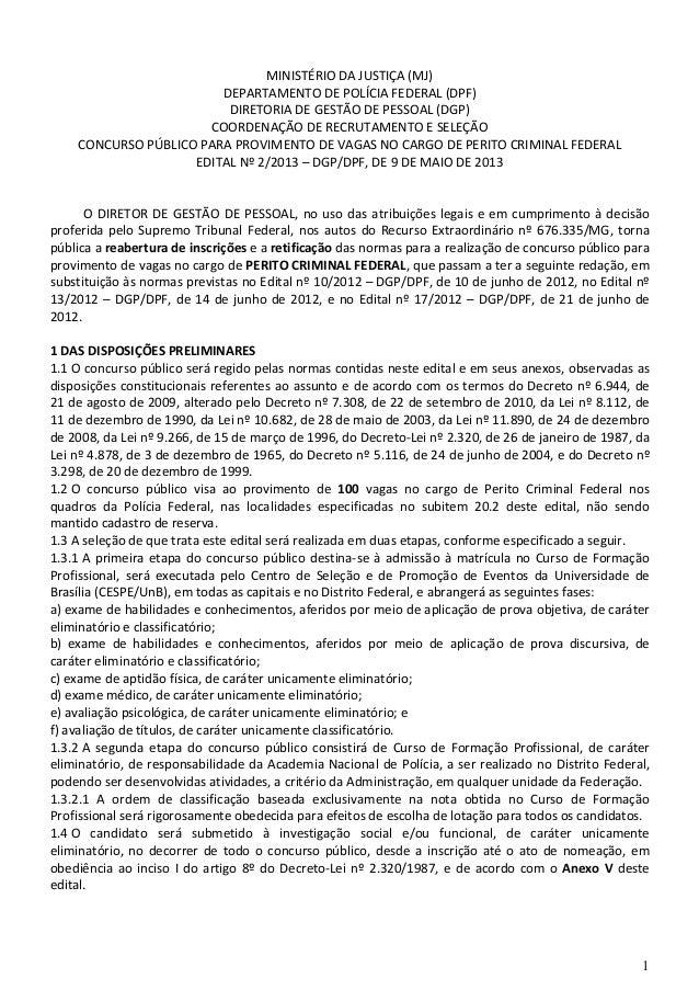 Edital Ministério da Justiça - Departamento de Polícia Federal