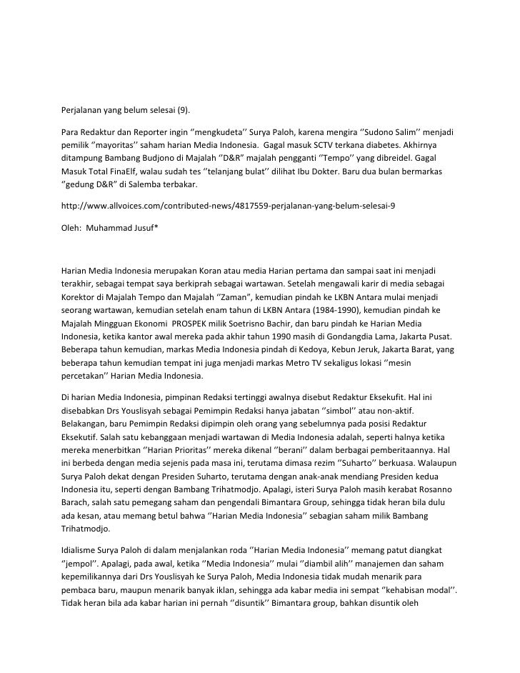 Perjalanan yang belum selesai (9).  Para Redaktur dan Reporter ingin ''mengkudeta'' Surya Paloh, karena mengira ''Sudono S...