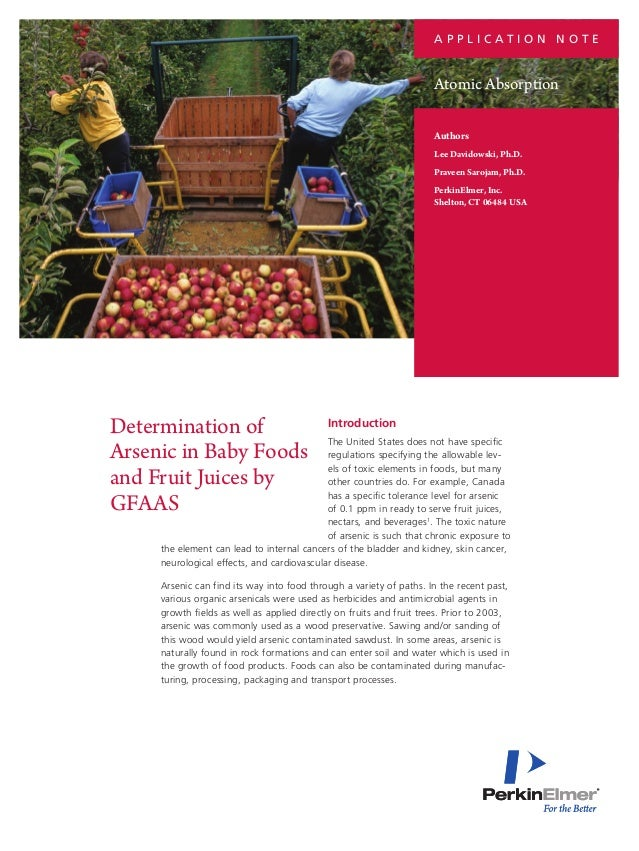 Determination of Arsenic in Baby Foods and Fruit Juices by GFAAS