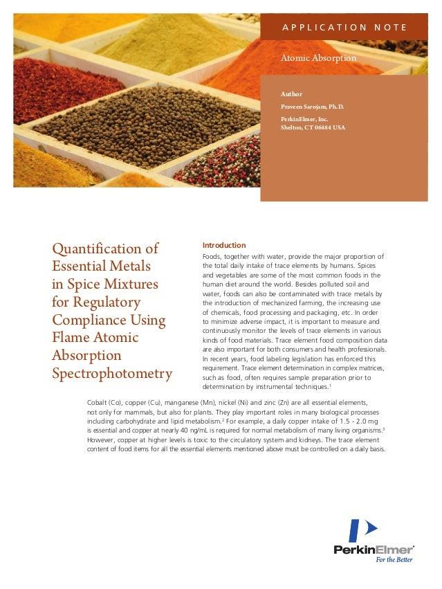 a p p l i c at i o n N o t e  Atomic Absorption Author Praveen Sarojam, Ph.D. PerkinElmer, Inc. Shelton, CT 06484 USA  Qua...