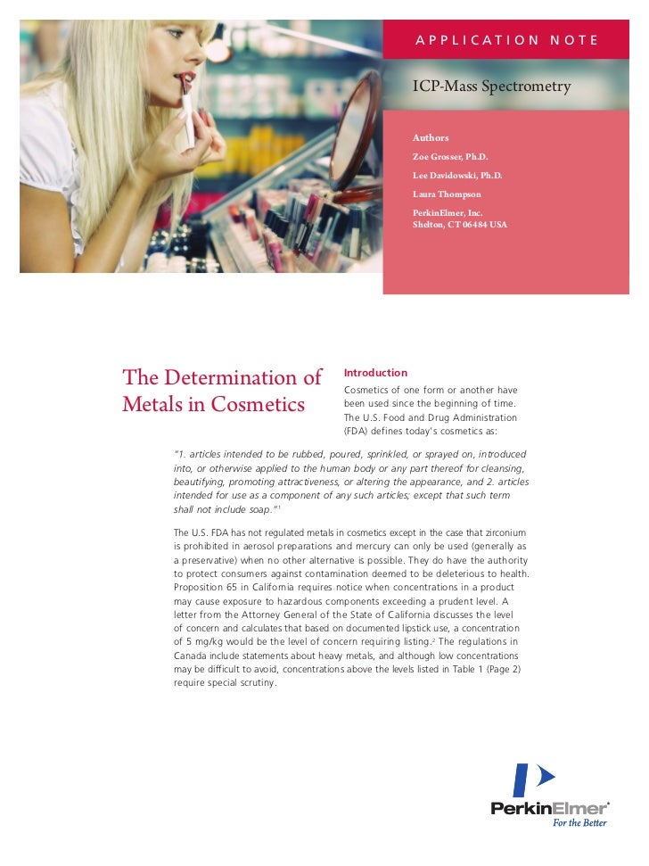 PerkinElmer: The Determination of Metals in Cosmetics Application Note