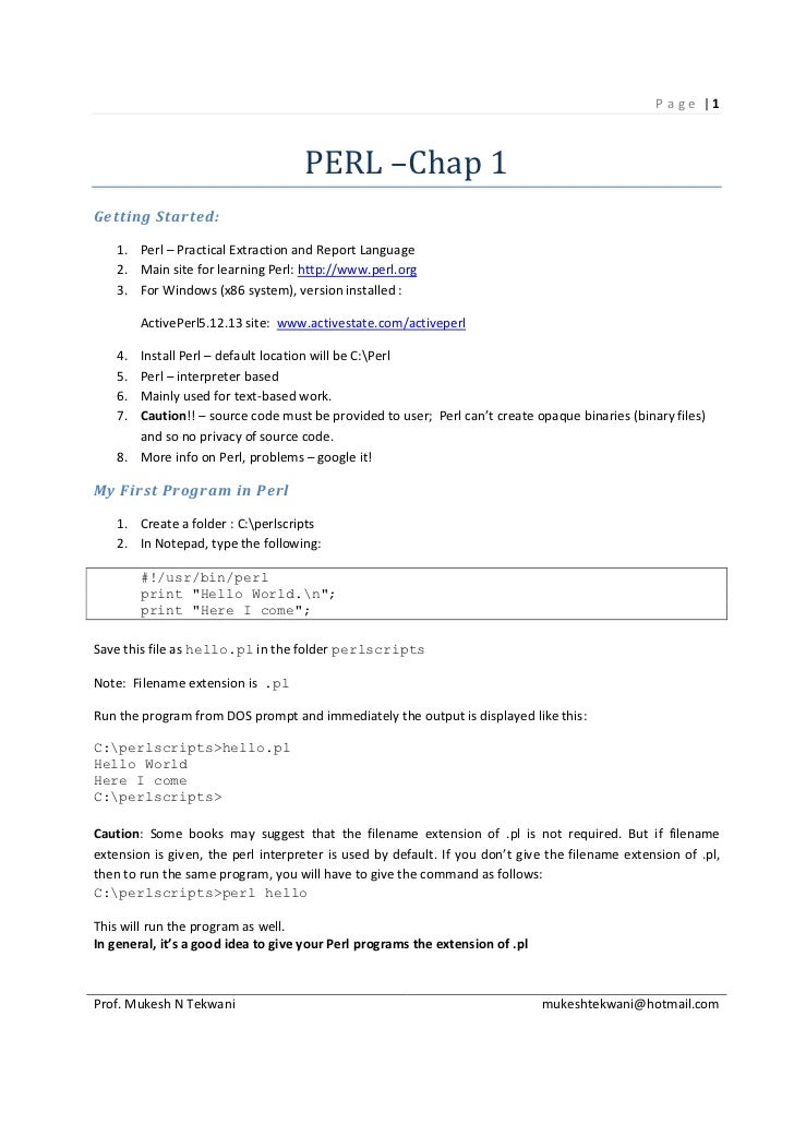 P age |1                                    PERL –Chap 1Getting Started:    1. Perl – Practical Extraction and Report Lang...
