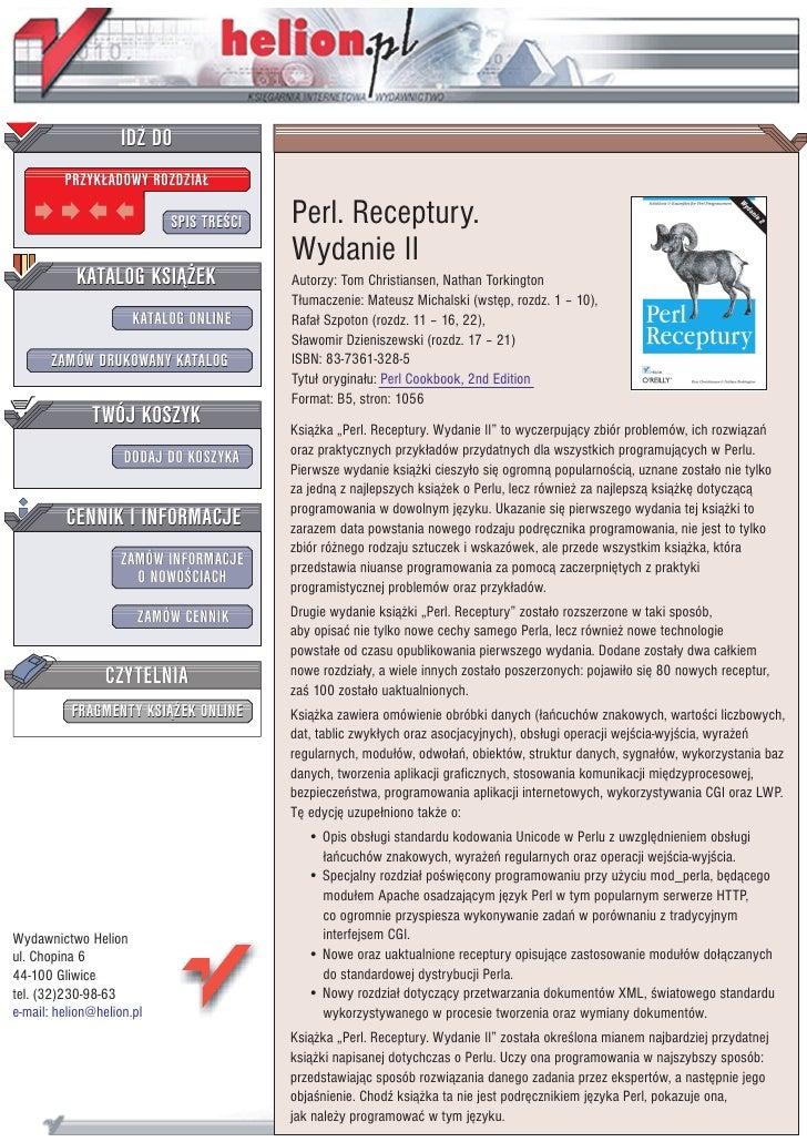 IDZ DO          PRZYK£ADOWY ROZDZIA£                             SPIS TRE CI   Perl. Receptury.                           ...