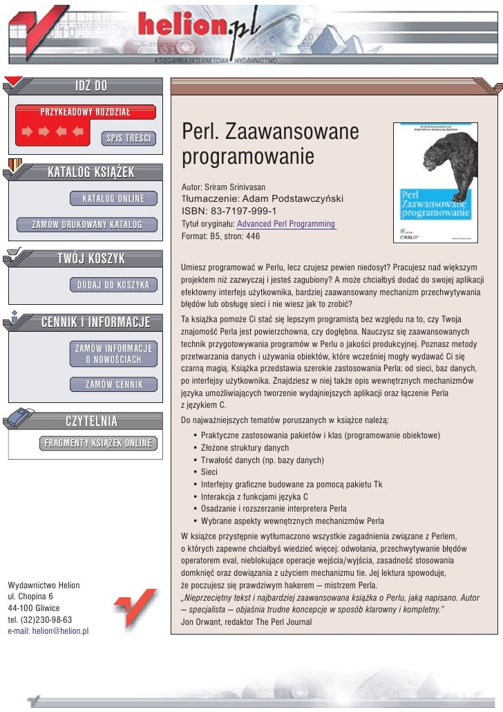 Perl. Zaawansowane programowanie