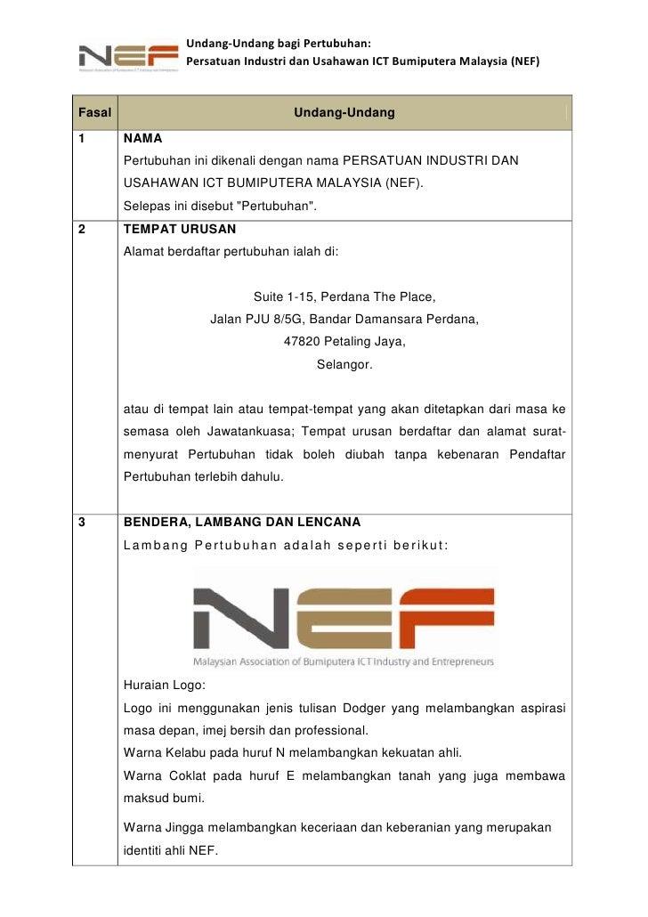 <ul><li>FasalUndang-Undang1NAMAPertubuhan ini dikenali dengan nama PERSATUAN INDUSTRI DAN USAHAWAN ICT BUMIPUTERA MALAYSIA...