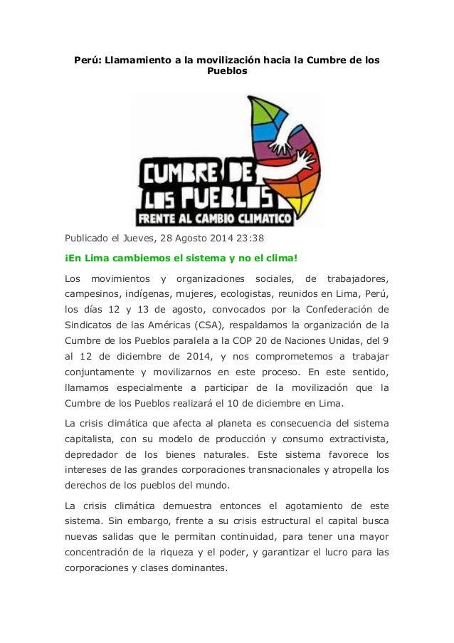 Perú: Llamamiento a la movilización hacia la Cumbre de los Pueblos