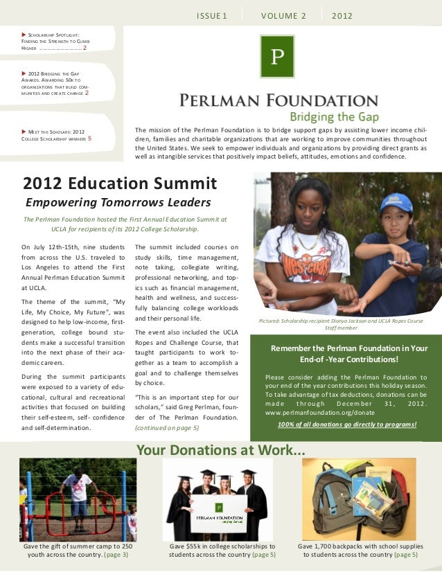Perlman foundation October 2012 newsletter