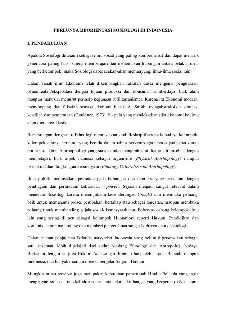 Perlunya reorientasi sosiologi di indonesi ax
