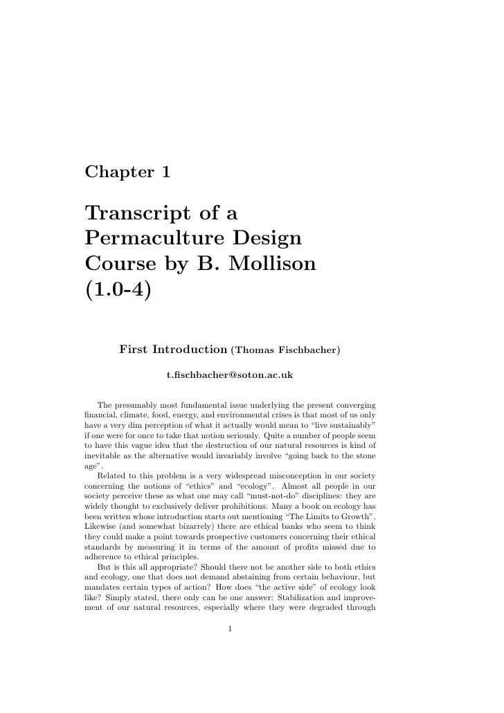 Chapter 1Transcript of aPermaculture DesignCourse by B. Mollison(1.0-4)         First Introduction (Thomas Fischbacher)   ...