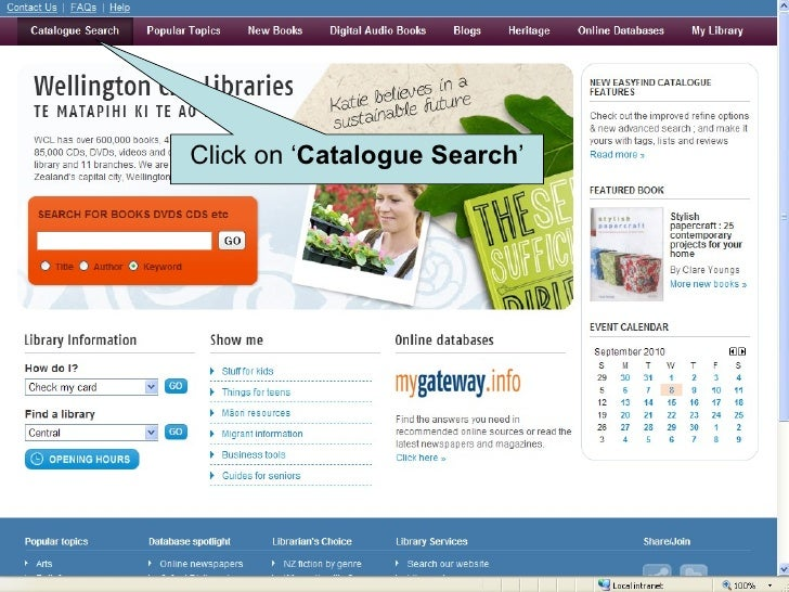 Click on ' Catalogue Search '