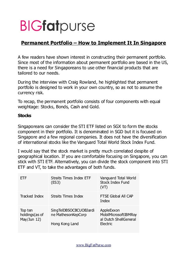 Permanent Portfolio – How to Implement It In SingaporeA few readers have shown interest in constructing their permanent po...