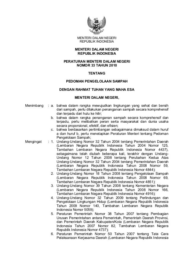 MENTERI DALAM NEGERIREPUBLIK INDONESIAMENTERI DALAM NEGERIREPUBLIK INDONESIAPERATURAN MENTERI DALAM NEGERINOMOR 33 TAHUN 2...