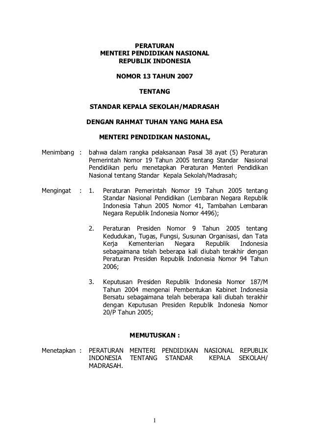 Permendiknas Nomor 13 Tahun 2007: Standar Kepala Sekolah/Madrasah