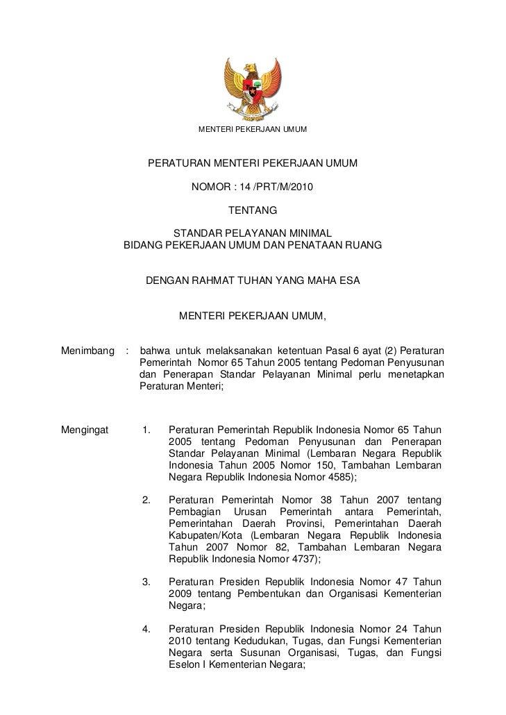 Permen PU No. 14 Tahun 2010 tentang Standar Pelayanan Minimal