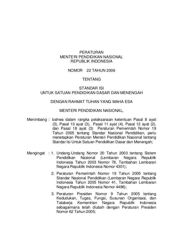 PERATURAN                  MENTERI PENDIDIKAN NASIONAL                      REPUBLIK INDONESIA                       NOMOR...