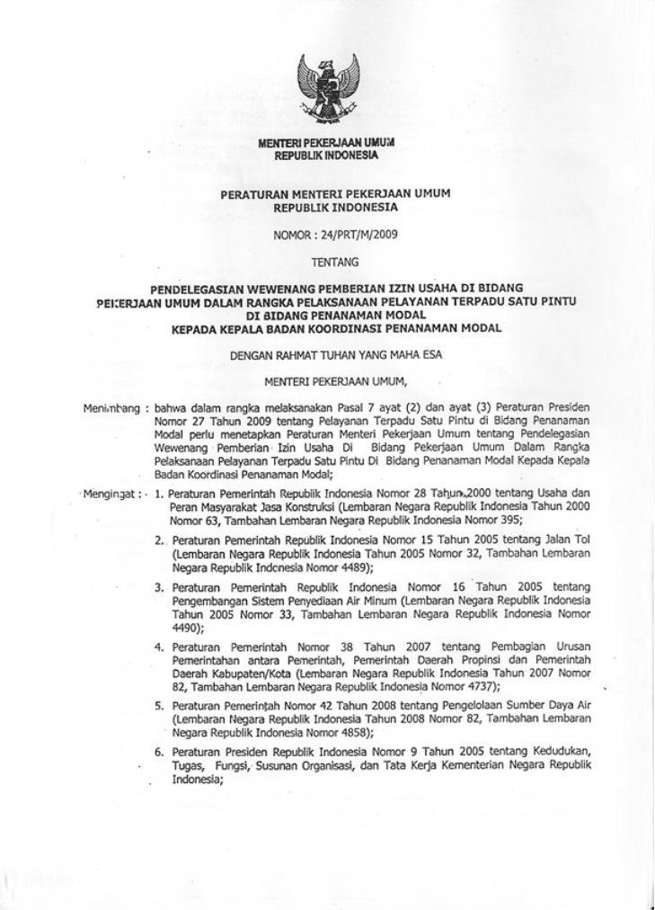 Permen PU No. 24 Tahun 2009 tentang Pendelegasian Pemberian Izin Usaha