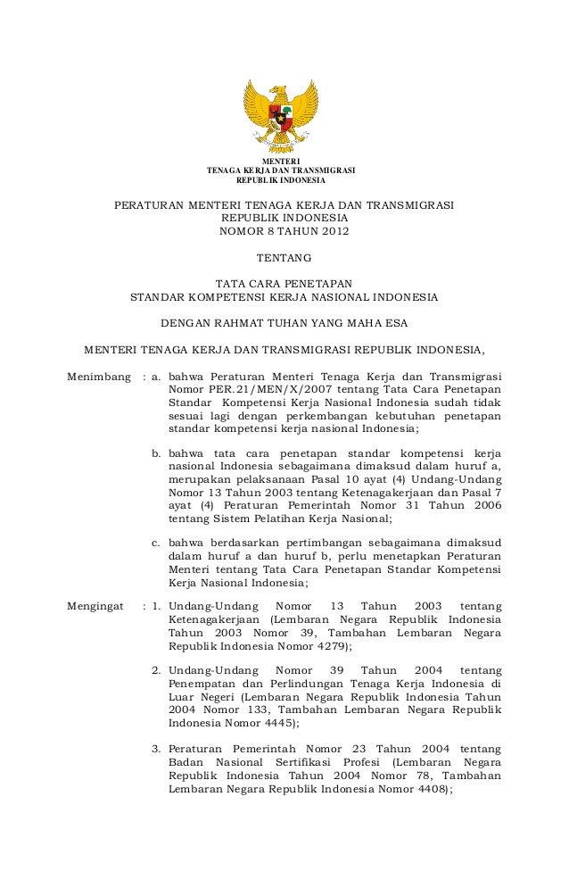 MENTERI TENAGA KERJA DAN TRANSMIGRASI REPUBLIK INDONESIA  PERATURAN MENTERI TENAGA KERJA DAN TRANSMIGRASI REPUBLIK INDONES...
