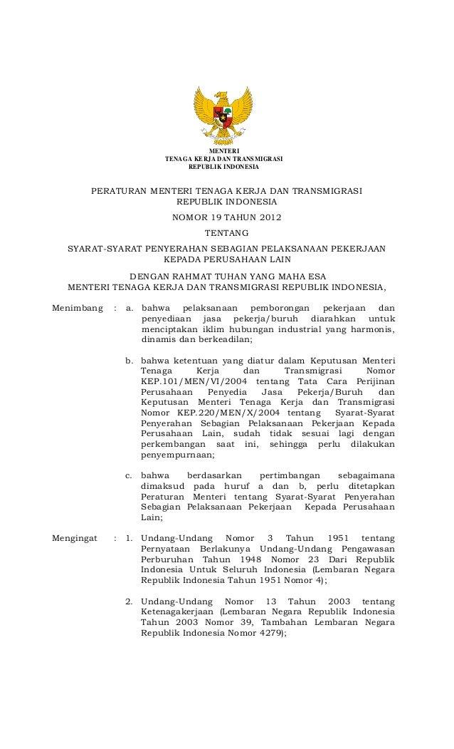 PERATURAN MENTERI TENAGA KERJA DAN TRANSMIGRASI REPUBLIK INDONESIA NO 19 TAHUN 2012