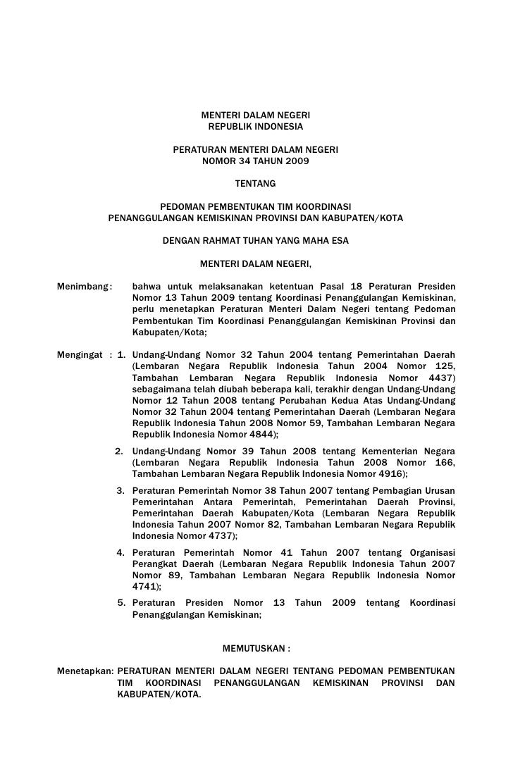 Permendagri 34 Pembentukan Tkpkd Besertalampiran