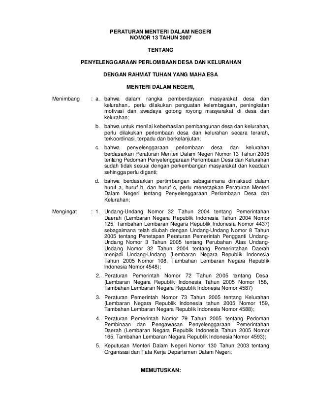 Permendagri no. 13 th 2007 ttg _ penyelenggaraan perlombaan desa dan kelurahan