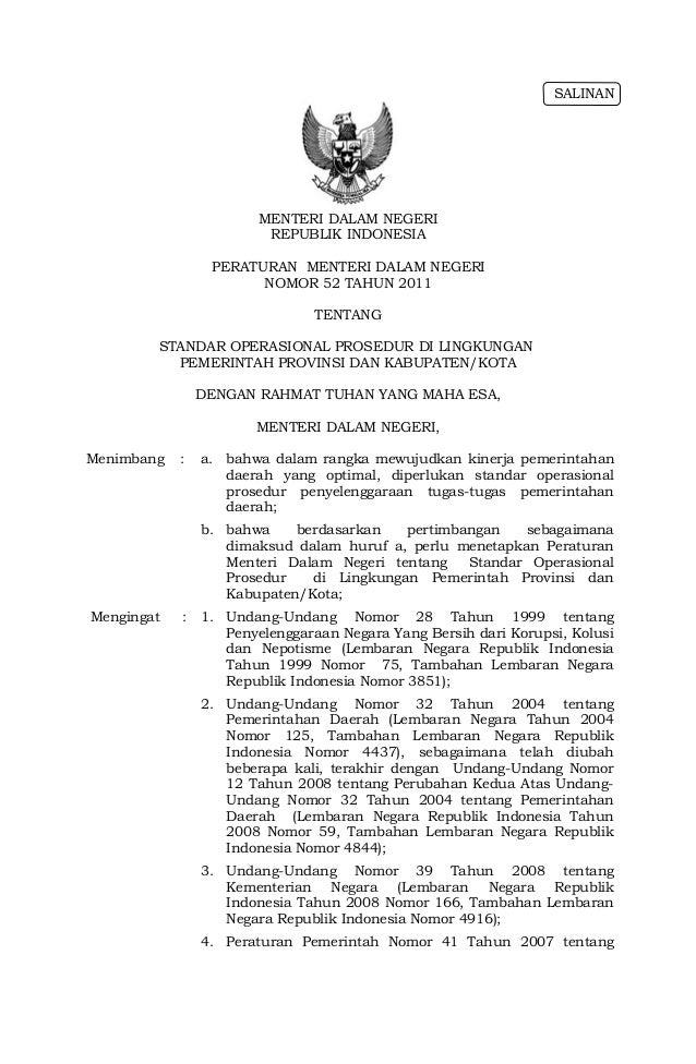 Permendagri no.52 thn 2011 ttg standar operasional prosedur di