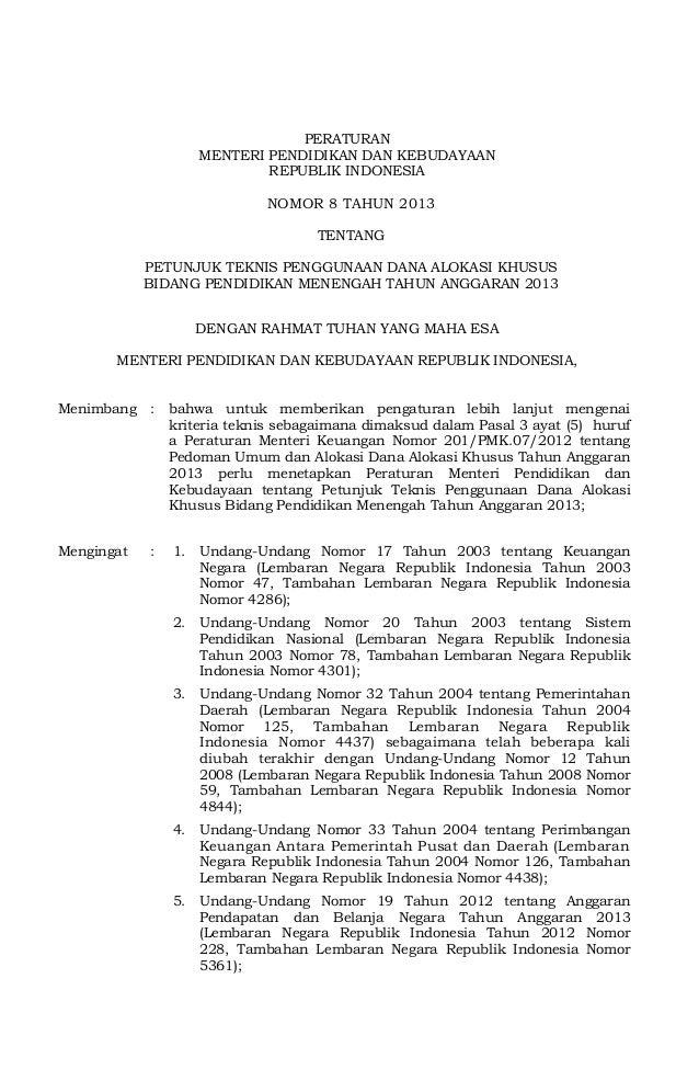 PERATURAN                     MENTERI PENDIDIKAN DAN KEBUDAYAAN                             REPUBLIK INDONESIA            ...