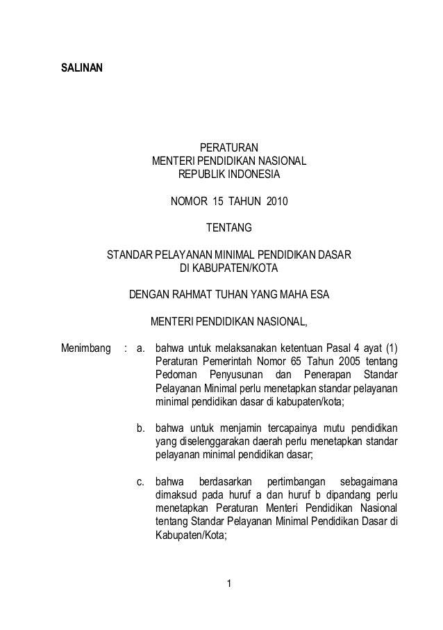 Permendiknas no-15-tahun-2010-tentang-standar-pelayanan-minimal-pendidikan-dasar