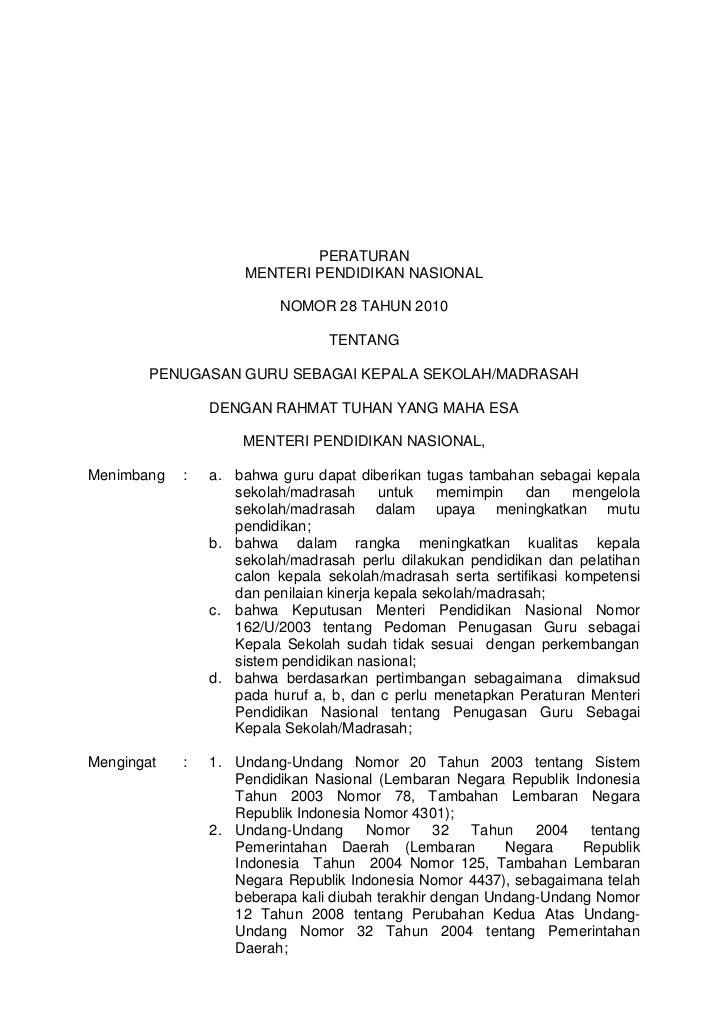 PERATURAN                     MENTERI PENDIDIKAN NASIONAL                         NOMOR 28 TAHUN 2010                     ...