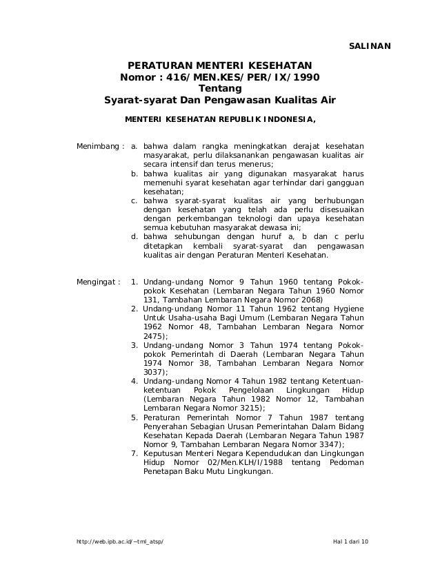 http://web.ipb.ac.id/~tml_atsp/ Hal 1 dari 10 PERATURAN MENTERI KESEHATAN Nomor : 416/MEN.KES/PER/IX/1990 Tentang Syarat-s...