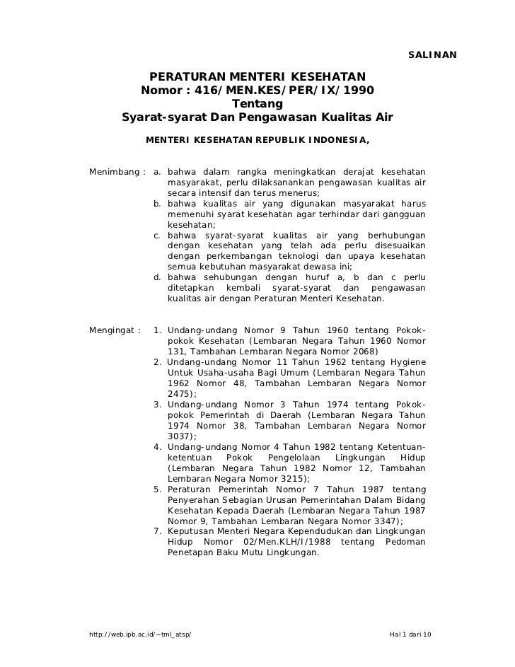 SALINAN             PERATURAN MENTERI KESEHATAN            Nomor : 416/MEN.KES/PER/IX/1990                          Tentan...