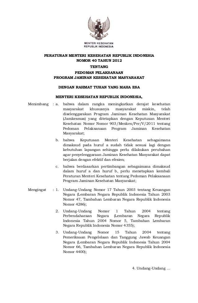 Permenkes No.40 Thn.2012 ttg Pedoman Pelaksanaan Program Jamkesmas
