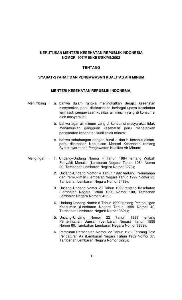 Permenkes ri no. 907 tahun 2002 syarat syarat dan pengawasan kualitas air minum