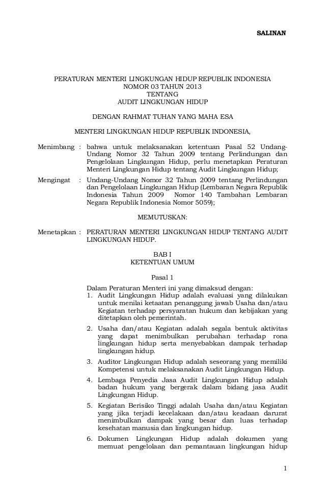 SALINAN    PERATURAN MENTERI LINGKUNGAN HIDUP REPUBLIK INDONESIA                    NOMOR 03 TAHUN 2013                   ...
