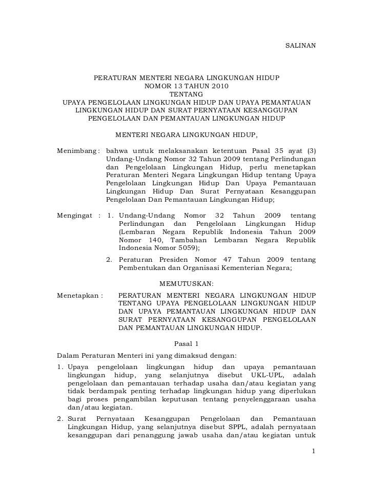 Permeneg Lingkungan Hidup No. 13 Tahun 2010 tentang Upaya Pengelolaan Lingkungan Hidup dan Upaya Pemantauan Lingkungan dan Surat Pernyataan Kesanggupan Pengelolaan dan Pemantauan Lingkungan Hidup