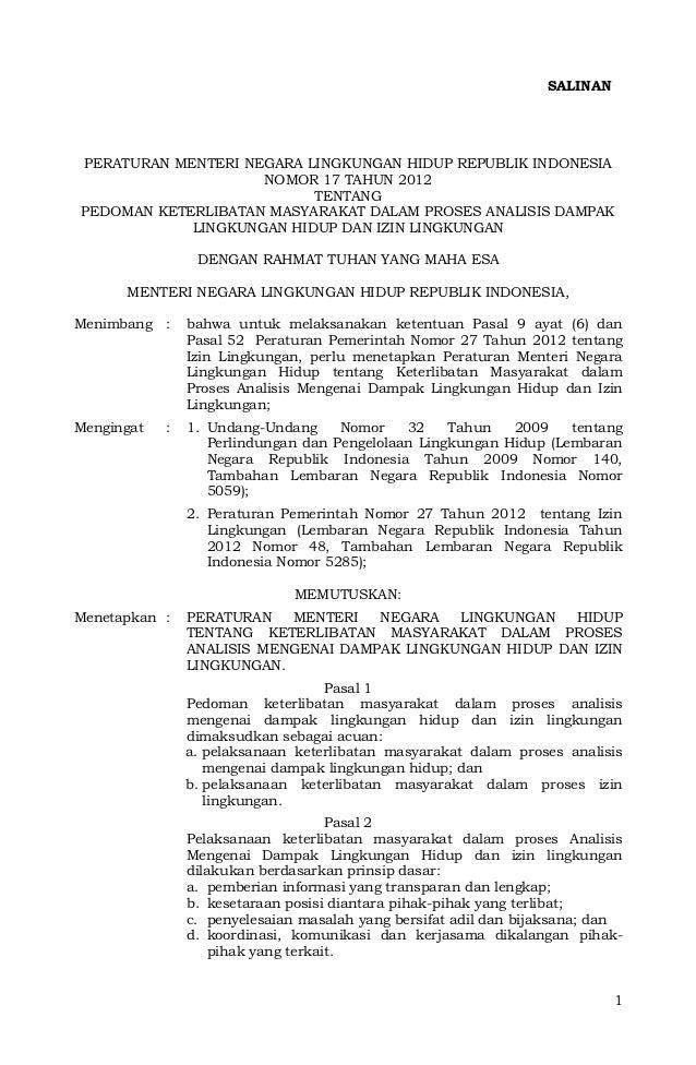SALINANPERATURAN MENTERI NEGARA LINGKUNGAN HIDUP REPUBLIK INDONESIA                    NOMOR 17 TAHUN 2012                ...