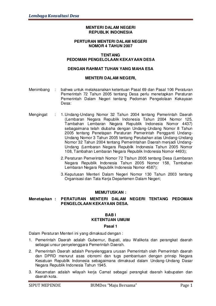 Lembaga Konsultasi Desa                              MENTERI DALAM NEGERI                               REPUBLIK INDONESIA...
