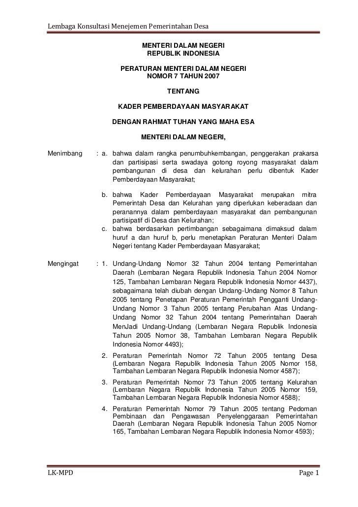 Lembaga Konsultasi Menejemen Pemerintahan Desa                          MENTERI DALAM NEGERI                           REP...