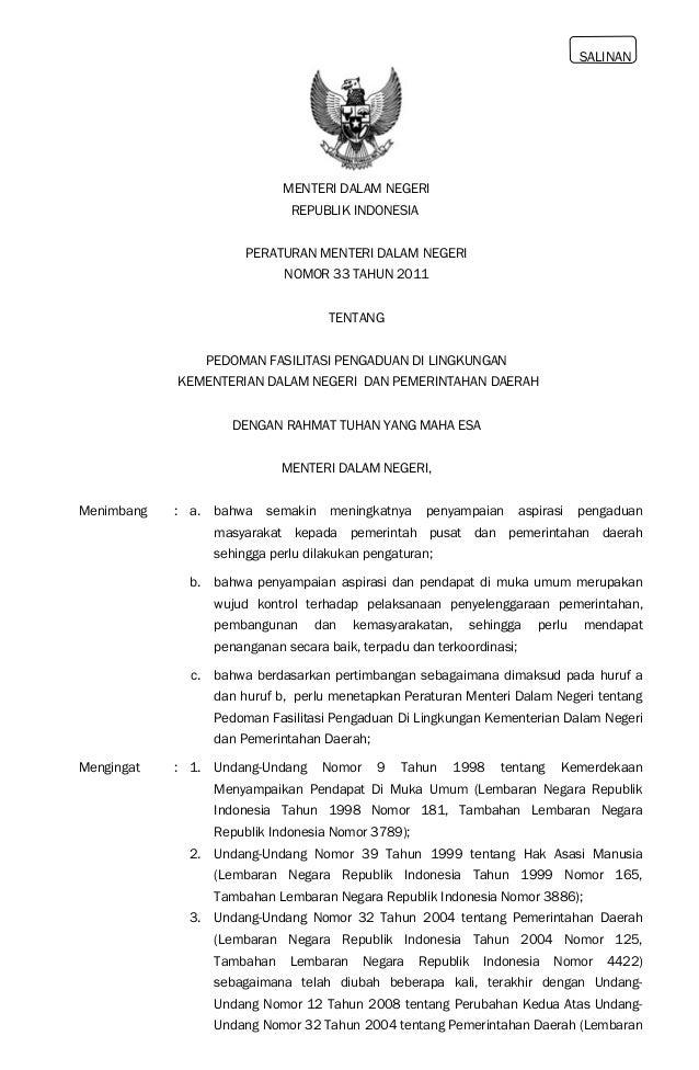 SALINAN MENTERI DALAM NEGERI REPUBLIK INDONESIA PERATURAN MENTERI DALAM NEGERI NOMOR 33 TAHUN 2011 TENTANG PEDOMAN FASILIT...