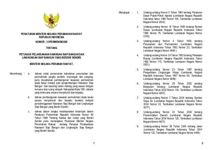 Permen Perumahan Rakyat No 31 Tahun 2006 Petunjuk Pelaksanaan Kasiba dan Lisiba yang Berdiri Sendiri