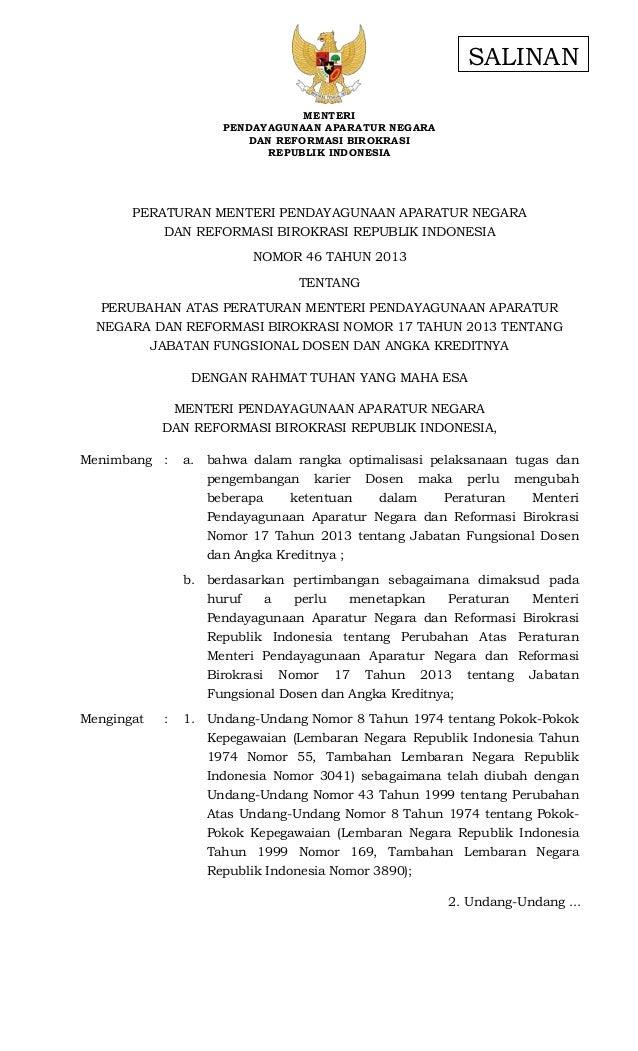 Permenpan2013 046 revisipermenpan2013 angka kredit dosen