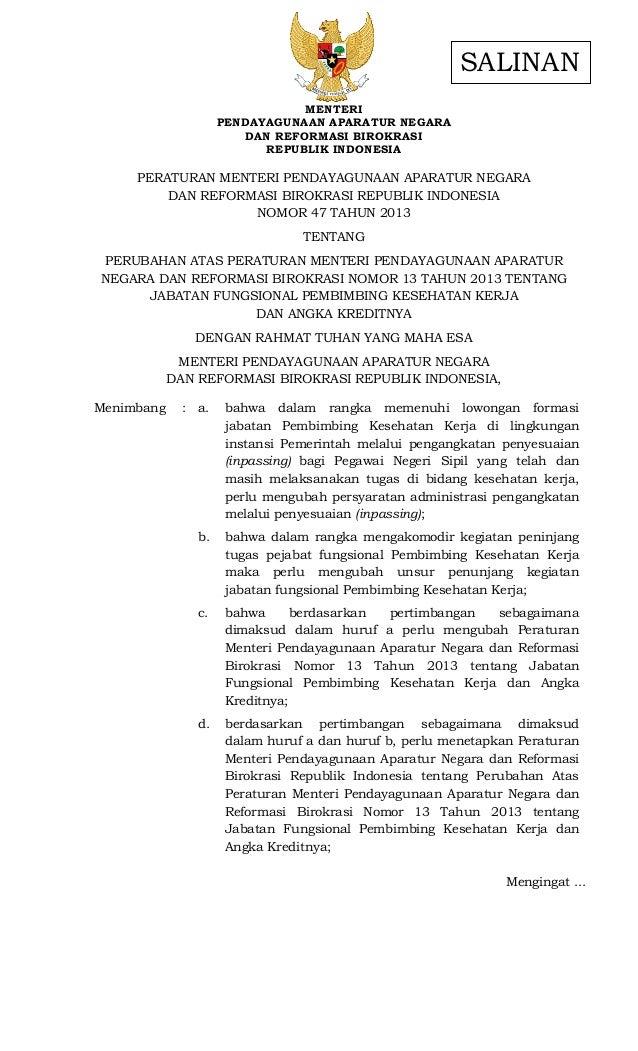 Mengingat ... MENTERI PENDAYAGUNAAN APARATUR NEGARA DAN REFORMASI BIROKRASI REPUBLIK INDONESIA PERATURAN MENTERI PENDAYAGU...