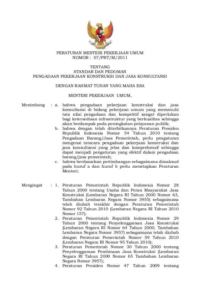 Permen PU Nomor 7 Tahun 2011 tentang Standar Dan Pedoman Pengadaan Pe ...