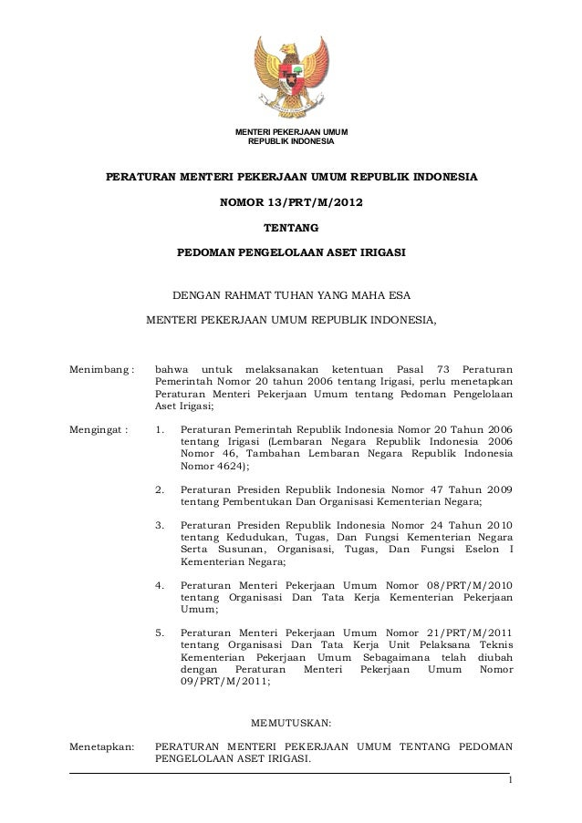 Permen pu13 2012 aset irigasiPermen PU Nomor 13 Tahun 2012 tentang Pedoman Pengelolaan Aset Irigasi
