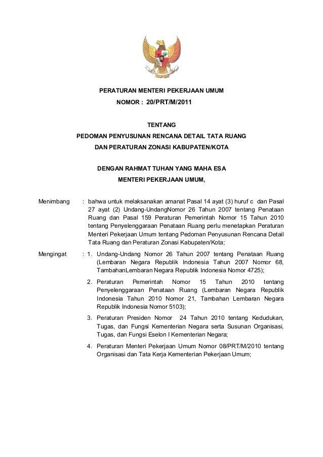 Permen PU Nomor 20 Tahun 2011 tentang Pedoman Penyusunan Rencana Deta ...