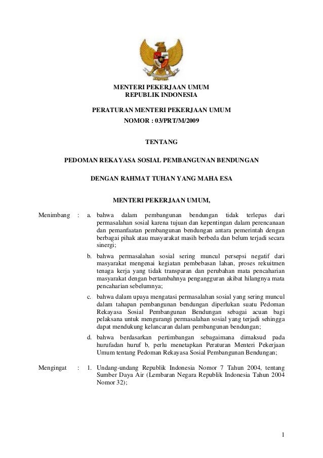 Permen PU Nomor 3 Tahun 2009 tentang Pedoman Rekayasa Sosial Pembangunan Bendungan
