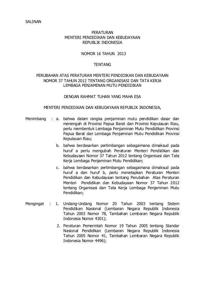 Peraturan Menteri No 16 tahun 2013