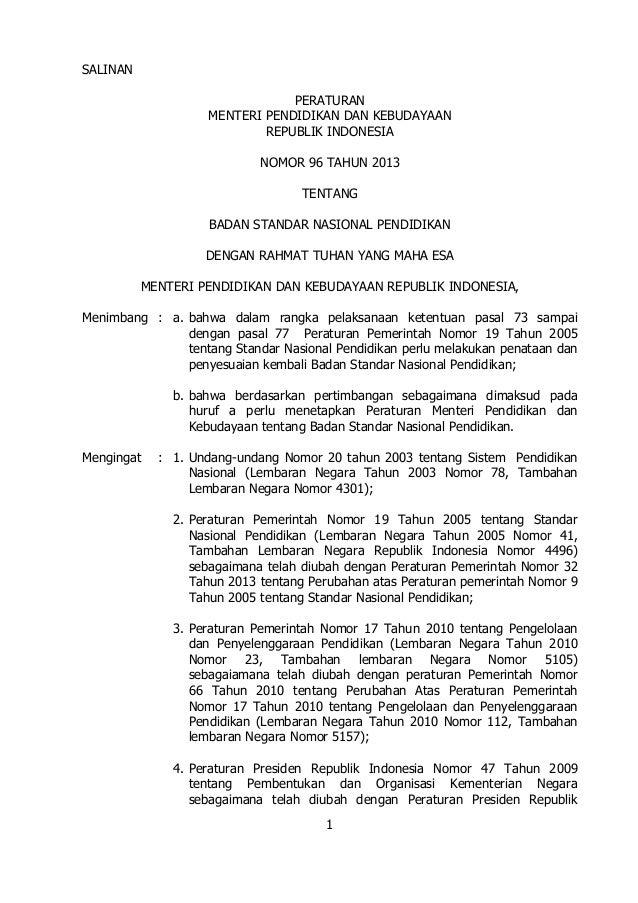 Permen tahun2013 nomor96 badan standar nasional pendidikan