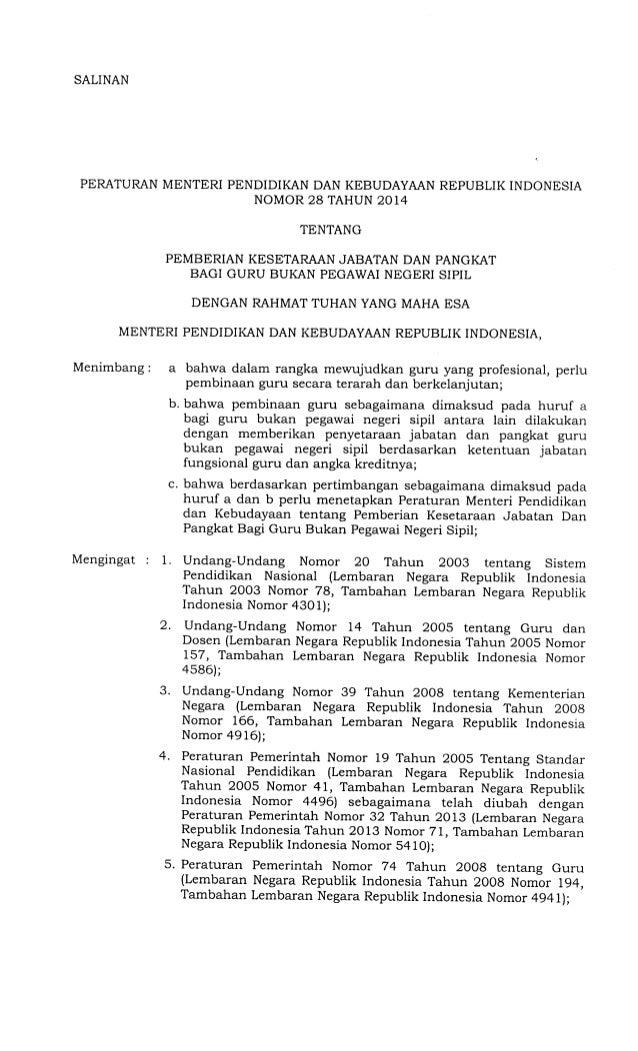 Permendikbud Nomor 28 Tahun 2014 Tentang Pemberian Kesetaraan Jabatan Dan Pangkat Bagi Guru Bukan Pegawai Negeri Sipil